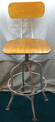 4 x Vintage Industrial Factory Machinists Stool Seat Bent Wood White Metal Legs