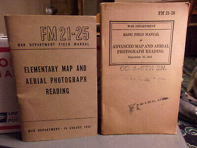 WWII US Military Manuals FM 21-25 & FM 21-26 Elementary & Advanced Map And Aeria