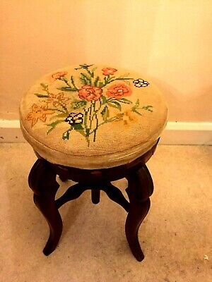 Unique vintage wooden adjustable swivel stool/chair with embroidered seat