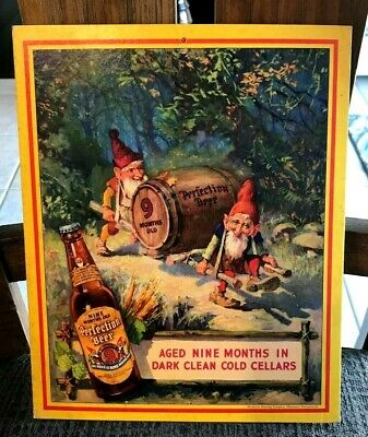 Rare Vintage 1941 Perfection Beer Graphic Cardboard Sign Horlacher Allentown Pa