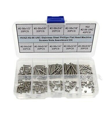 HVAZI #2-56 UNC Stainless Steel Phillips Flat Head Machine Screws Nuts Assort...