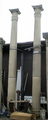 Pair of Tall Limestone Columns with Doric Capitals