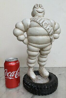 """Vintage Michelin Man Statue Figure standing on truck tire, 14"""" tall. (RARE!)"""