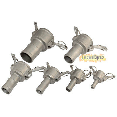 """3/4"""" C Trash Pump Adapter Female Camlock x Hose Barb SS 316 Stainless Steel NEW"""