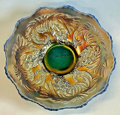 Vintage Beautiful Old Fenton Blue Pine Cone Pattern Carnival Glass Plate Antique