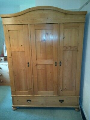 Antique Continental Wardrobe. 3 Doors. Polished Pine. Dismantles for transport.