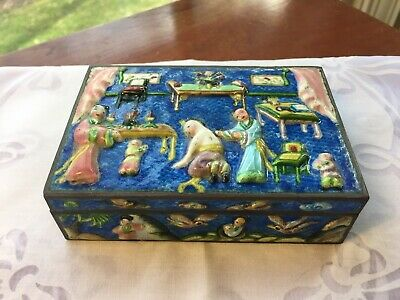 Antique Chinese Enamel Repousse Brass Box, High Relief Scene, Lined in Wood