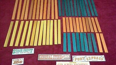 vtg Lincoln Logs  Replace Parts 21 pc flat orange yellow green roof pieces slats