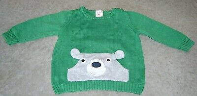 Seed Heritage Baby Boys Green Cotton Knit Jumper With Face Sz 6 - 12 Months (0)