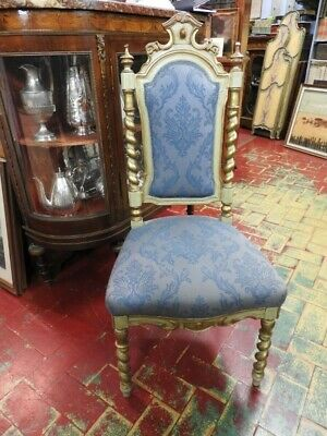 Original Small Armchair a Torchon Wooden Lacquered with Trim Golden Venice Epo