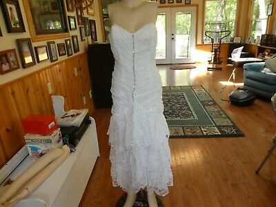 Jolie Madame~Vintage White Lace/Tiered Cocktail Strapless Dress~Size Jr.'s 7/8