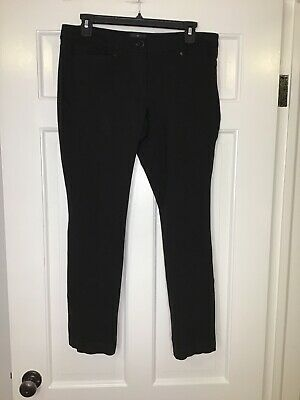 White House Black Market Womens Size 10 S Black Flat Front Dress Pants, Stained