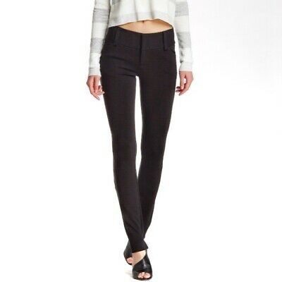 Alice + Olivia Andrew Skinny Pants Wide Waistband Ponte Women's Sz 10 Black $242