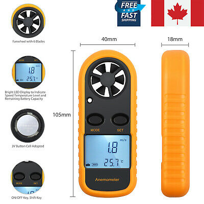 LCD Display Digital Anemometer Apporved Handheld Wind Speed Meter Thermometer CA