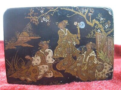 """ANTIQUE CHINESE BLACK WOODEN """"LADIES IN WAITING"""" CURIOS BOX w/hinged lid"""