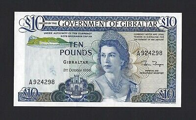 GIBRALTAR 10 Pounds 1986, P-22b, UNC, Small Print Totals QEII Note, Obsolete