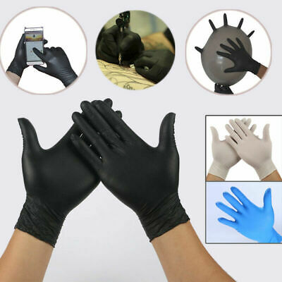100 Pairs Disposable Rubber Powder Free Clear Mechanic Vinyl Gloves Nitrile UK