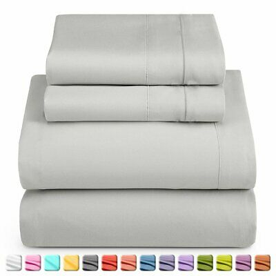 Upgrade Single/KS/Double/Queen/King 4 Piece Bed Sheet Set,Flat,Fitted,Pillowcase