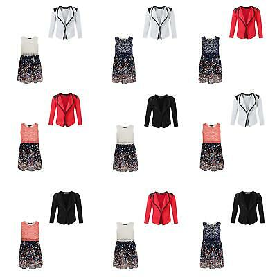 Girls Floral Lace Top Chiffon Dress Bundle with Open Front Quilted Blazer 3-14 Y
