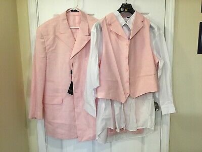 Nwt 3 Piece Mens Dress Suit Pink Vittorio St Angelo Size 44