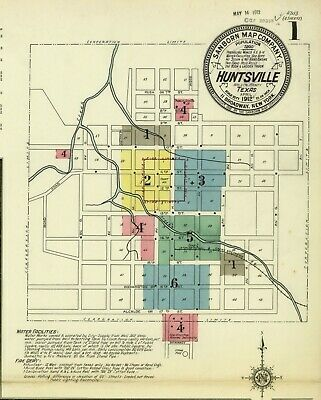 Huntsville, Texas~Sanborn Map© sheets~7 maps in color~1812 on CD