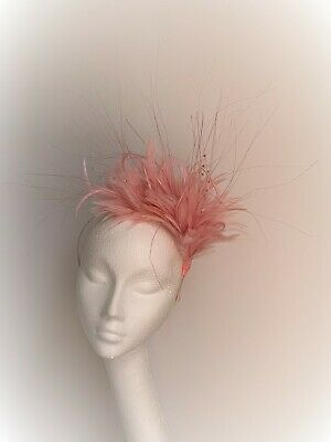 soft pink feather fascinator hat headband headpiece Wedding Ascot Derby races