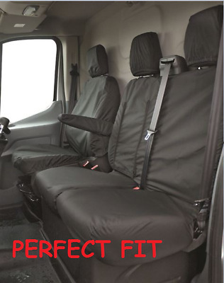 Ford Transit 2014 Tipper Tailored Rear Black Seat Cover Double Chassis Cab