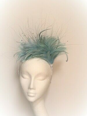 light blue feather fascinator hat crown halo headpiece Wedding Ascot Derby Races