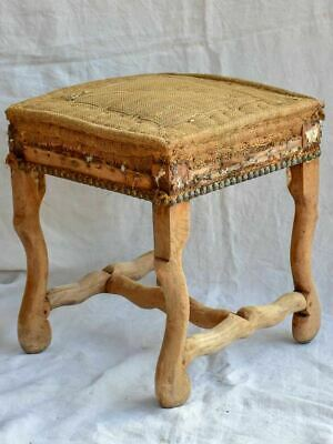 Rustic antique French stool with jute upholstery - Louis XIII
