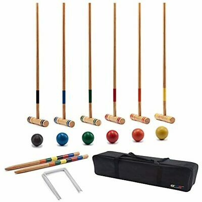 Cool Games Full Croquet Set For Kid Adult families 6 Player 6 Wood Mallet +Ball