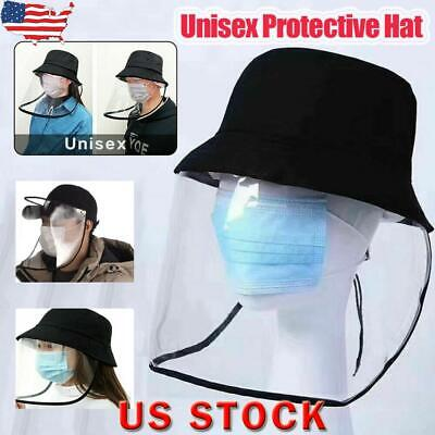 US Hat-Mounted Transparent Mask Protective Cap Face Mask Plastic Anti-fog Saliva