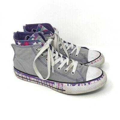 Converse All Star Girls Sneakers Gray Purple High Tops Lace Up Zip Shoes 4.5