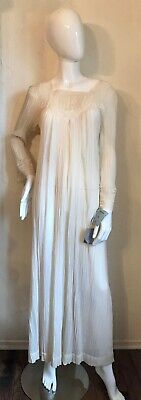 Vintage 1970's Christian Dior Cotton Gauze & Lace Nightgown M NWT