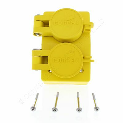 Cooper Yellow Watertight Receptacle Outlet Flip Cover 6-20R 20A 250V 60W48DPLX