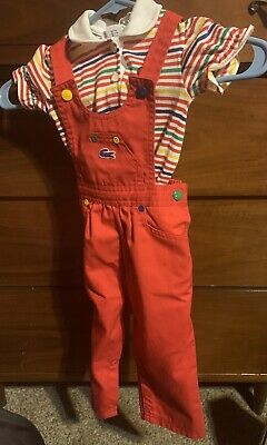 IZOD Lacoste Vintage Toddler Red Overalls & Alligator Striped Polo Shirt 12-24m