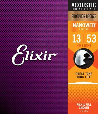 Elixir Nanoweb Phosphor Bronze HD Acoustic Guitar Strings 13-53