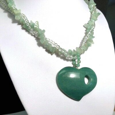 "Abstract Carved Green ""Jade Color""  Natural Aventurine / Quartz Heart  Necklace"