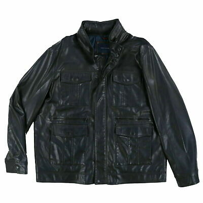 Tommy Hilfiger Mens Leather Jacket Full Zip Outerwear Coat Black Xxl New Nwt Th