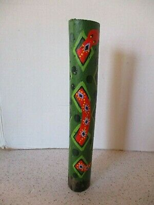 Central American Folk Art Rattle Rain Stick, Hand Painted Snake Design  9 3/4""