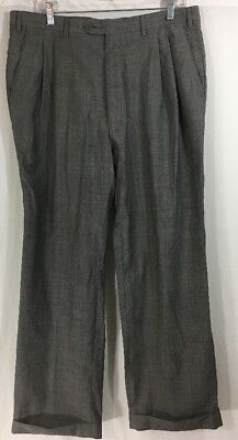 ANGELICO SUPER 100's Gray MADE ITALY 100% WOOL DRESS-PLEAT CUFFED MEASURED 35x28