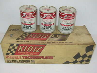 Vintage Klotz Super Techniplate 2 Cycle Oil Unopended Metal Quart Cans