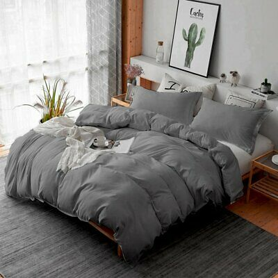 GREY 1000TC Soft Duvet/Doona/Quilt Cover Sets Single/Double/Queen/King/Size AU