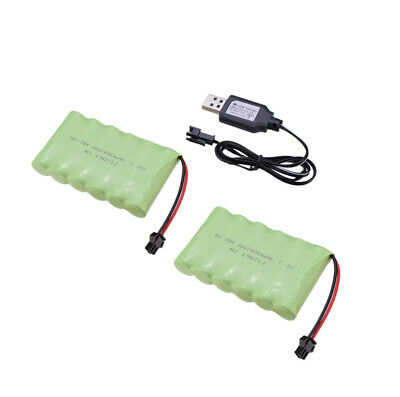 2pcs 7.2V 2400mAh Nimh AA Battery Pack Rechargeable SM-2P Plug For RC Car Toys