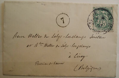 French France 1907 Postal History Cover 5C