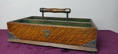 Antique Brass Bound Twin Compartment Cutlery Tray - Solid Oak Wood & Handle