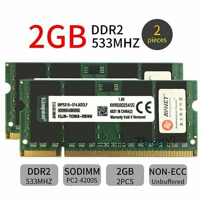 Para Kingston 4GB 2x 2GB 1GB DDR2 533MHz KVR533D2S4/2G Laptop SODIMM Memory SP