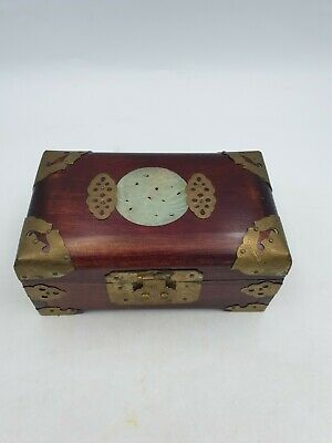 Vtg Chinese Wooden Brass Trims Faux Jade Jewellery Trinket Box Red Silk Lining