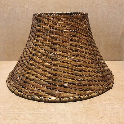 Vintage Medium Wicker Rattan Woven Lamp Light Pendant Ceiling Shade 21 Cm H