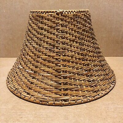 Medium Vintage Wicker Rattan Woven Lamp Light Pendant Ceiling Shade 21  Cm H