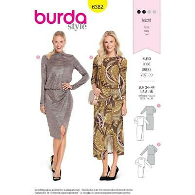 Burda-6829 Burda Ladies Easy Sewing Pattern 6829 Mock Wrap Tulip Skirt Dresses
